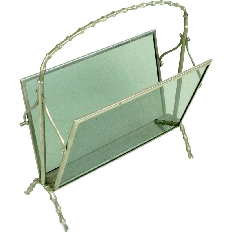 Vintage magazine rack in silvered brass for Maison Bagues