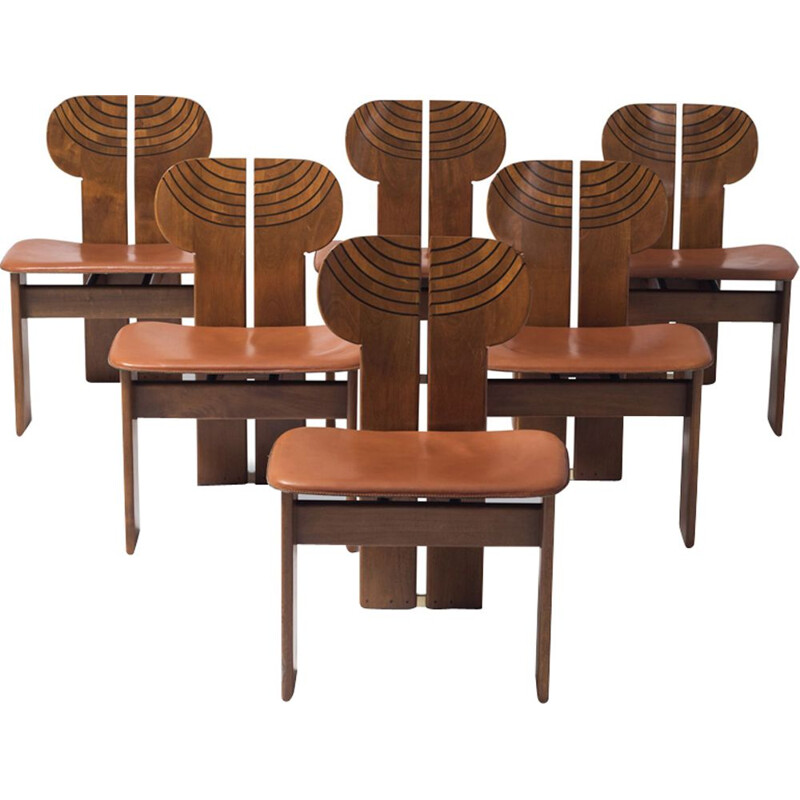 Set of 6 Africa Chairs With Cognac Leather Seating by Afra and Tobia Scarpa