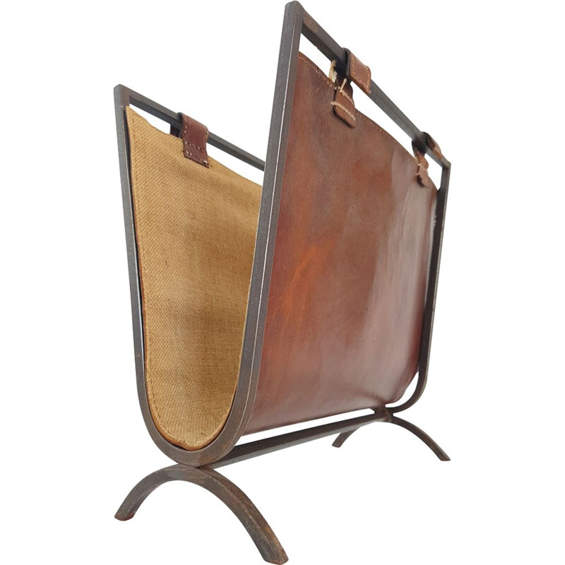 Vintage French magazine rack in steel and leather