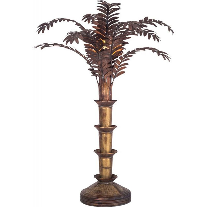 Vintage Palm Tree Table Lamp In Copper