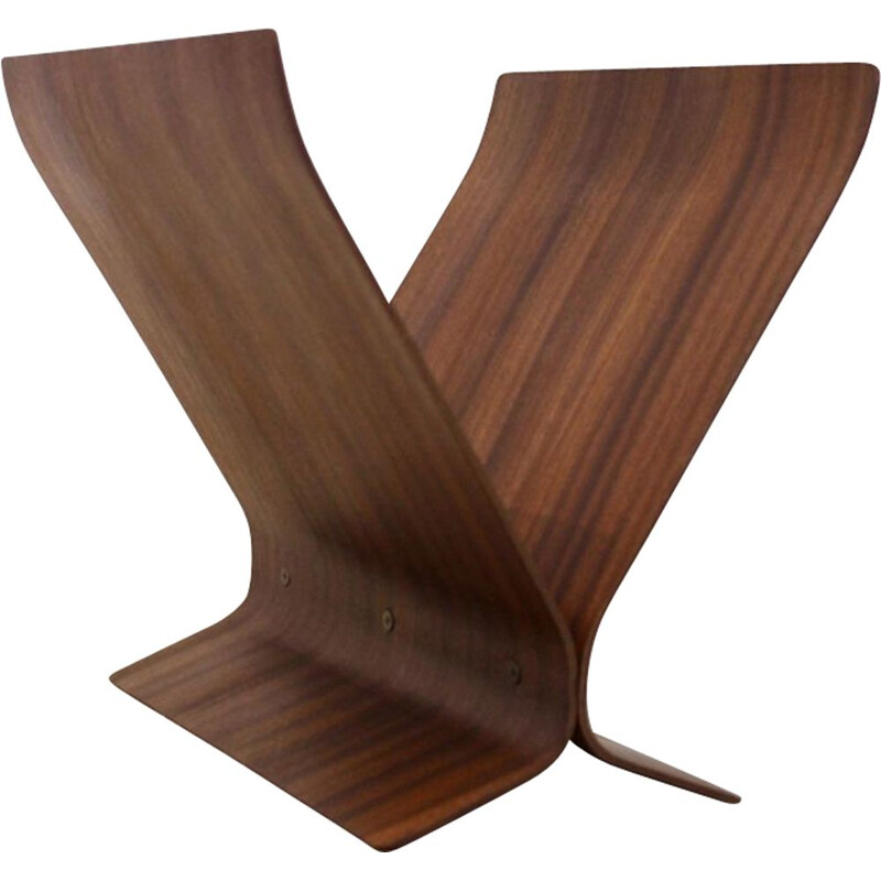 Vintage bentwood magazine rack by Paul Rowan for Umbra
