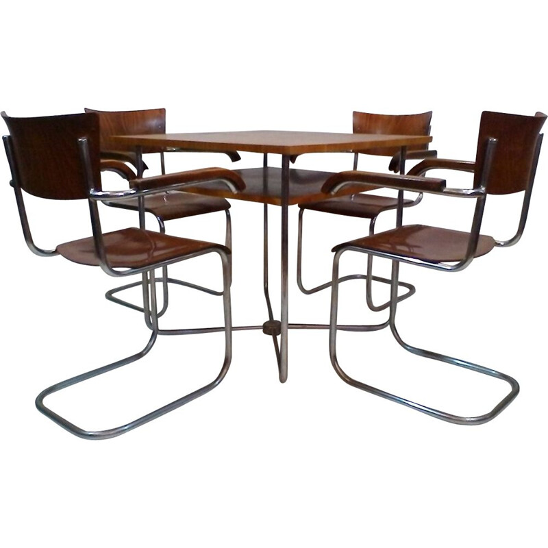 Vintage dining set by Robert Slezák set in walnut and iron