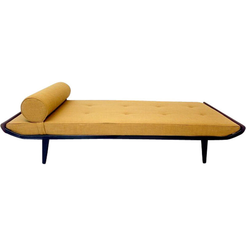 Cleopatra daybed in metal, teak and yellow fabric, Dick CORDMEIJER - 1950s