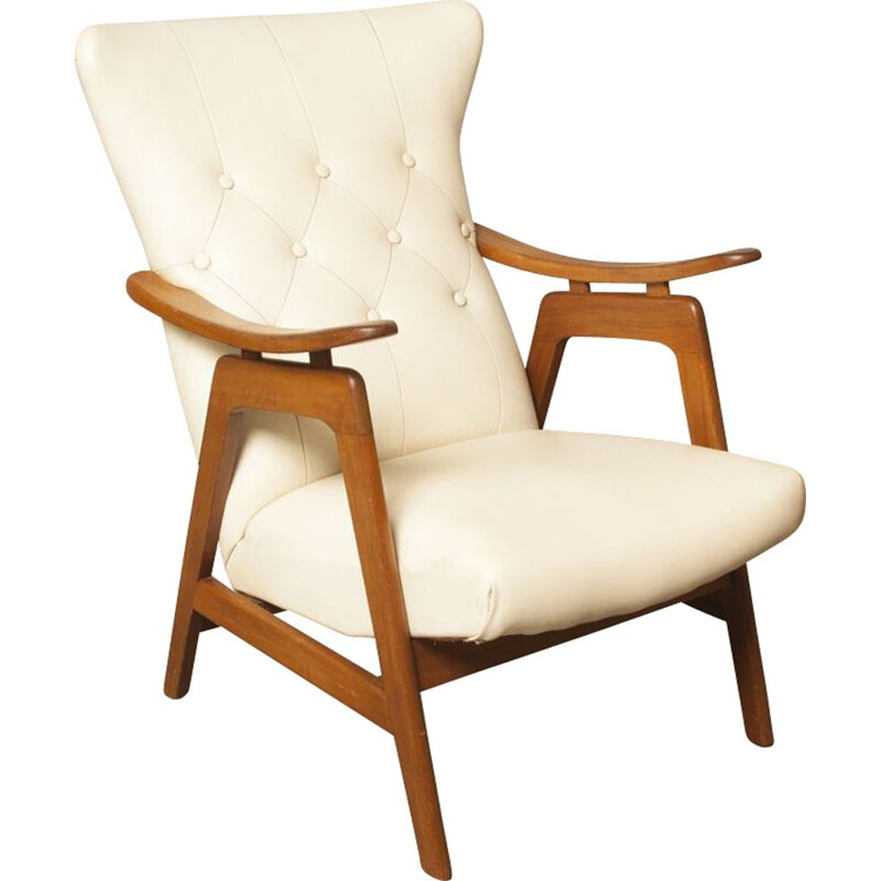 Vintage white armchair by Louis Van Teeffelen