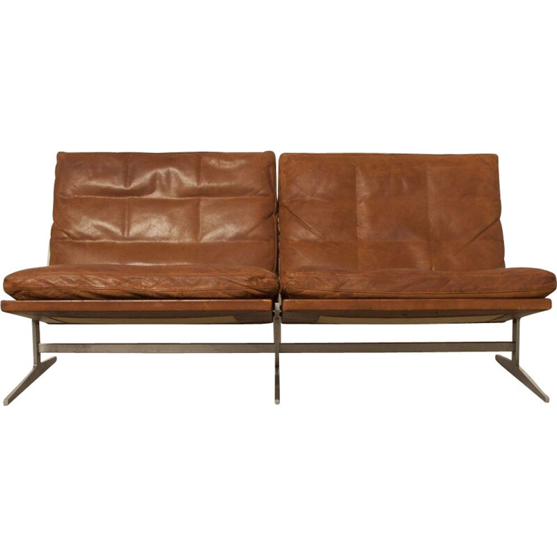 Vintage sofa by Preben Fabricius and Jørgen Kastholm brown leather