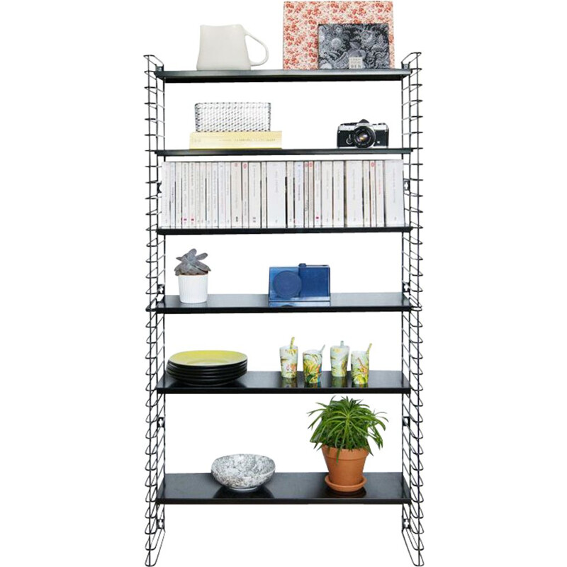 Modular shelves system Tomado in black metal by Adriaan Dekker