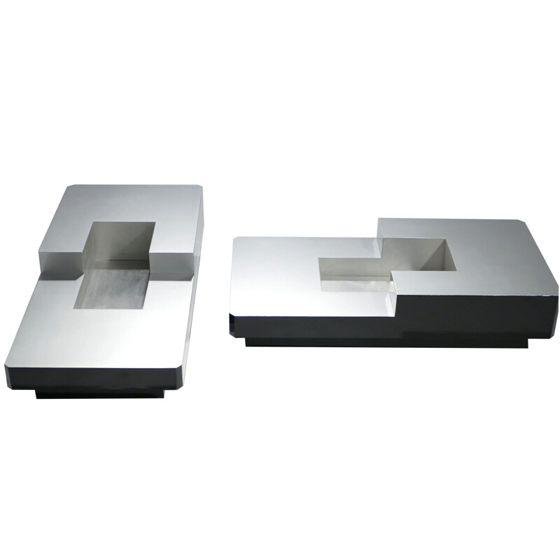 Set of 2 coffee tables in stainless steel by Willy Rizzo - 1970s