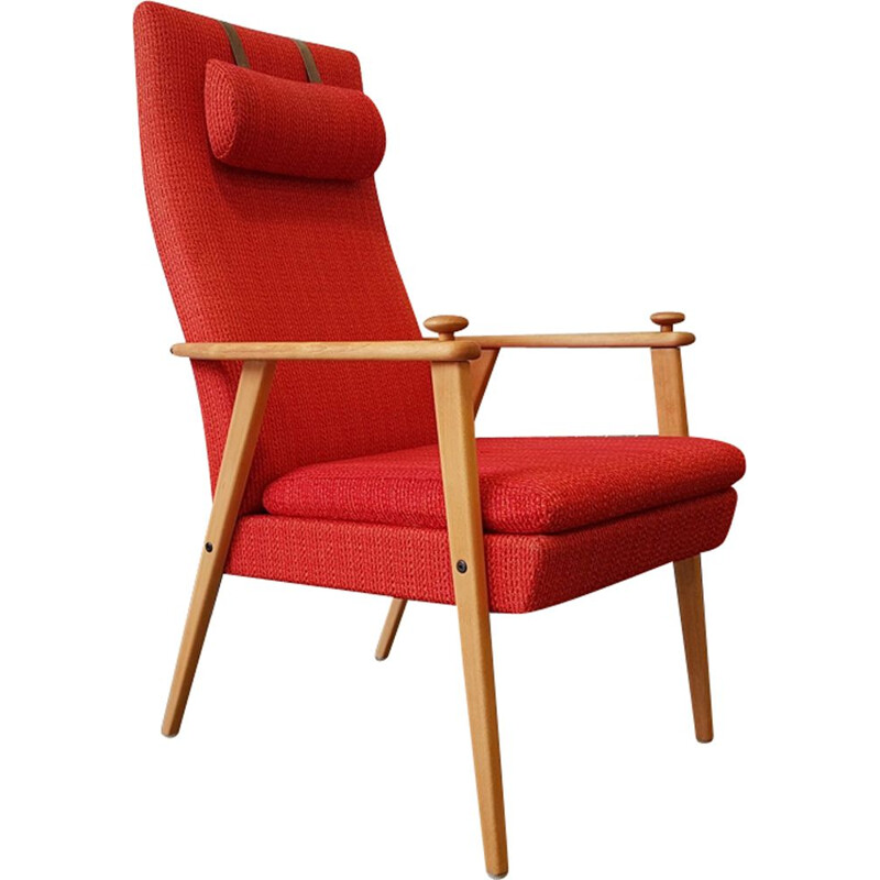 Vintage red armchair by Broderna Johanson