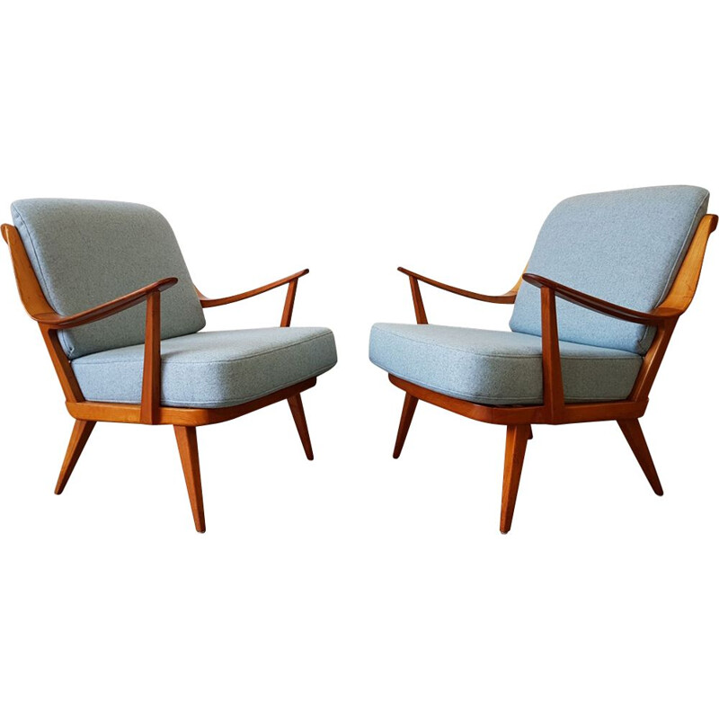 Set of 2 vintage blue armchairs by Knoll Antimott