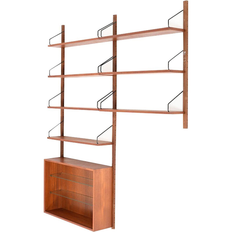 Vintage wall system in teak by Poul Cadovius