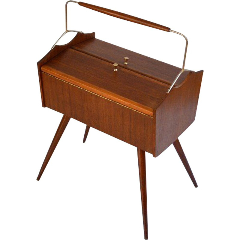 Vintage french toolbox/sewing box furniture in varnish wood & brass