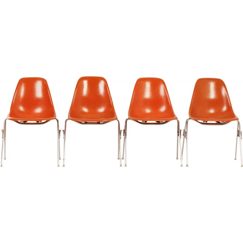 Vintage set of 4 DSS chairs by Eames for Herman Miller