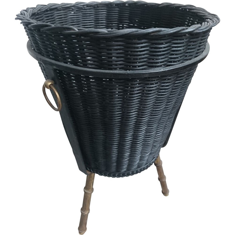 Vintage basket in rattan by Jacques Adnet