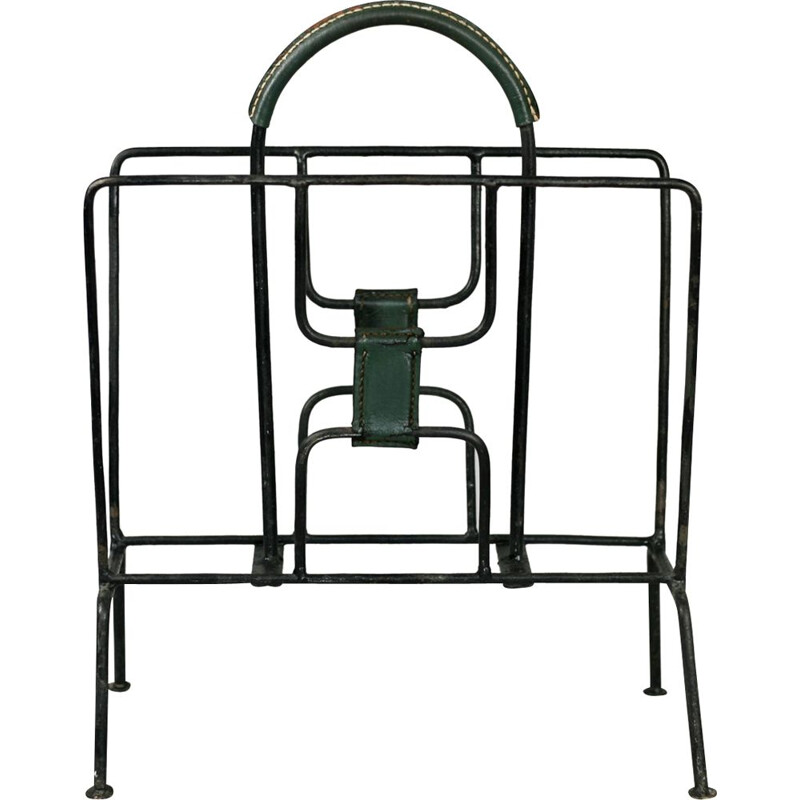 Vintage Magazine rack in metal and green leather by Jacques Adnet