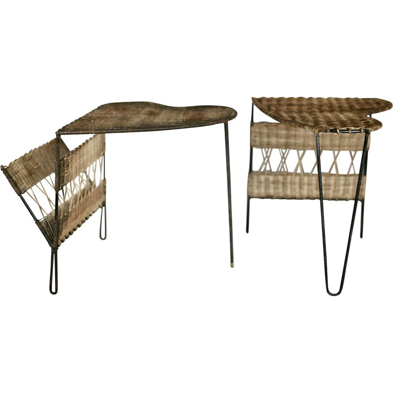 Set of 2 side tables with magazine racks by Raoul Guys