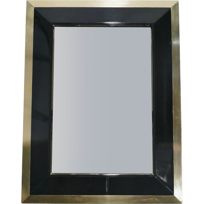 Black lacquered vintage mirror in brass by J.C. Mahey