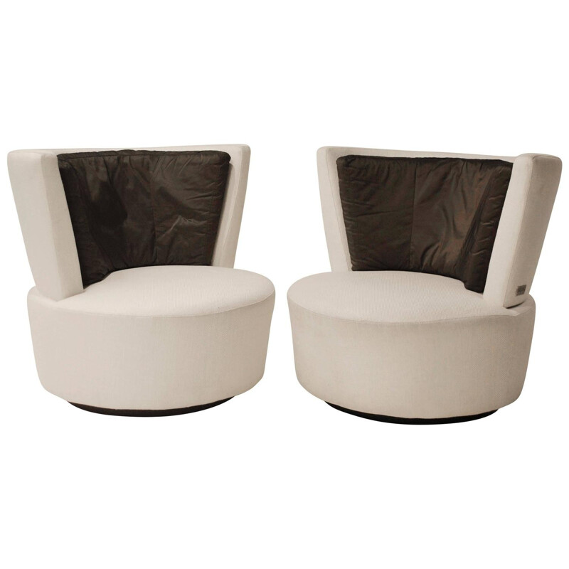 Pair of swivel armchairs in wood, metal and fabric, Vladimir KAGAN - 1980s