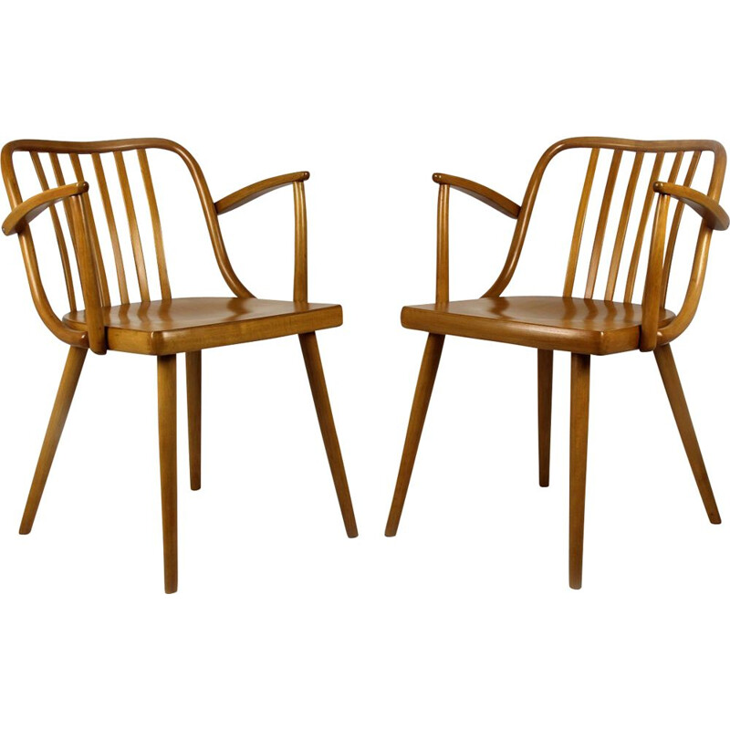 Set of 2 Czech Wooden Armchairs by Antonin Suman for TON