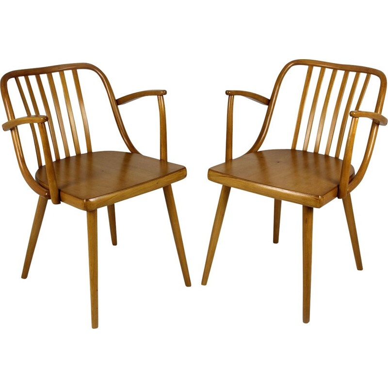 Set of Two Czech Wooden Armchairs by Antonin Suman for TON