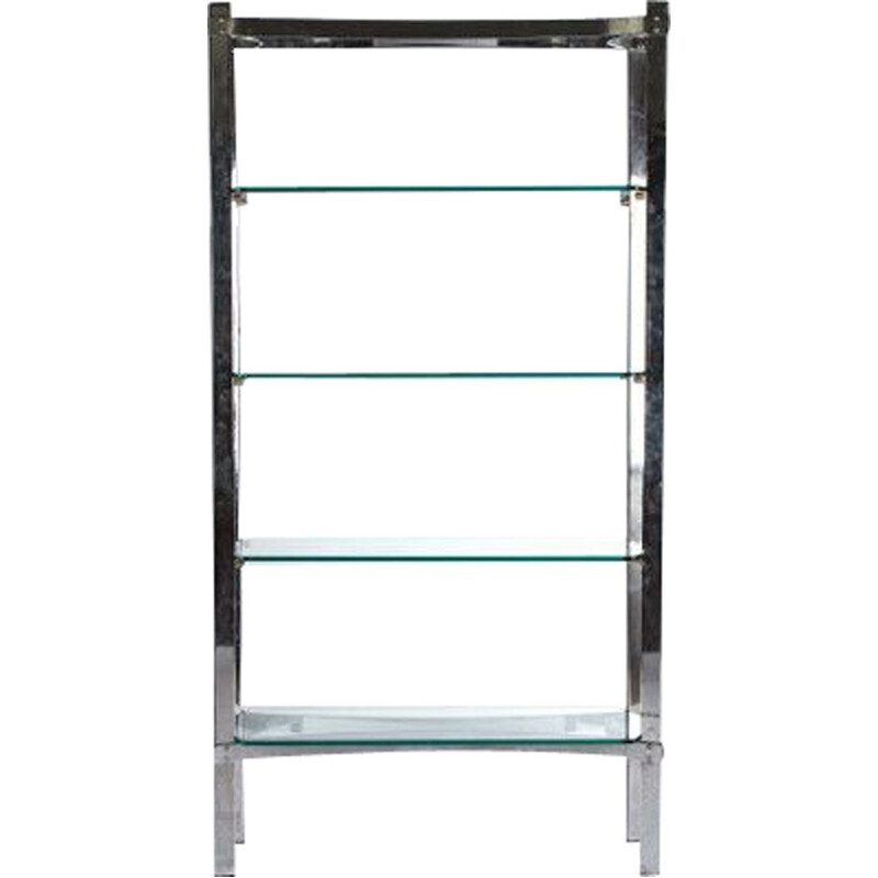 Vintage merrow associates glass and chrome shelves by Richard Young