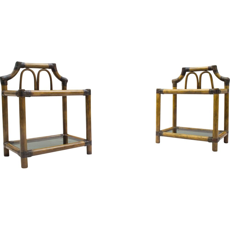 Vintage set of 2 nightstands in rattan and leather with smoked glass