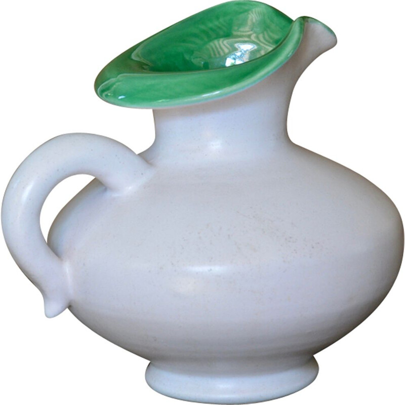 Vintage pitcher in white and green by Pol Chambost