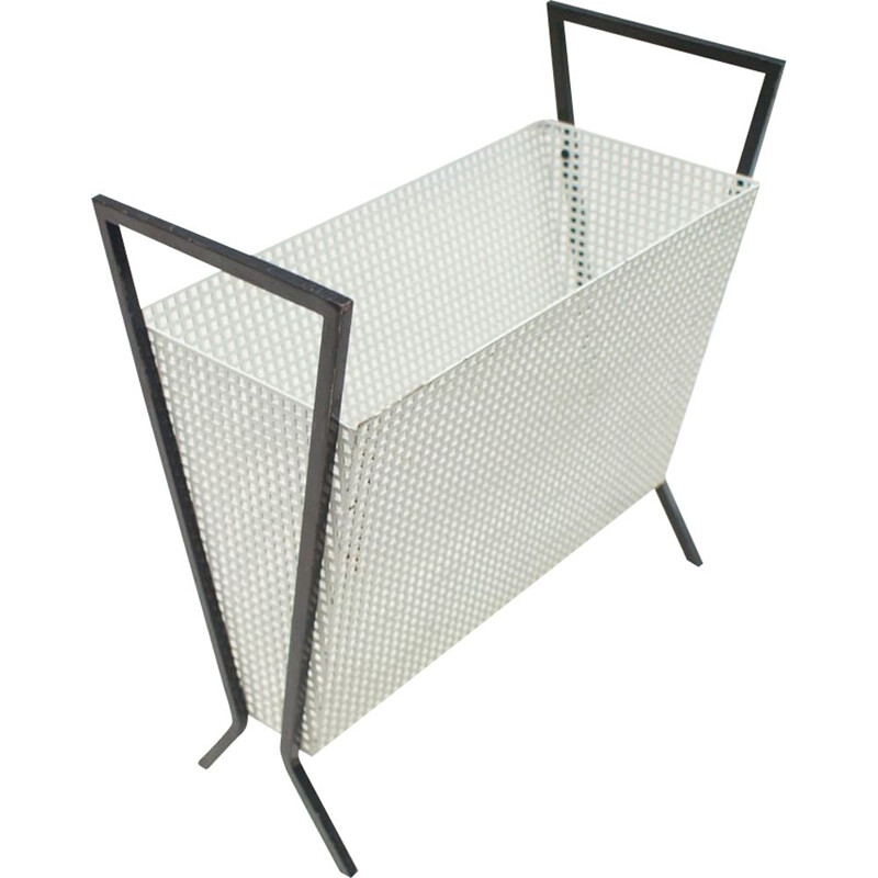 Vintage French magazine rack in perforated metal