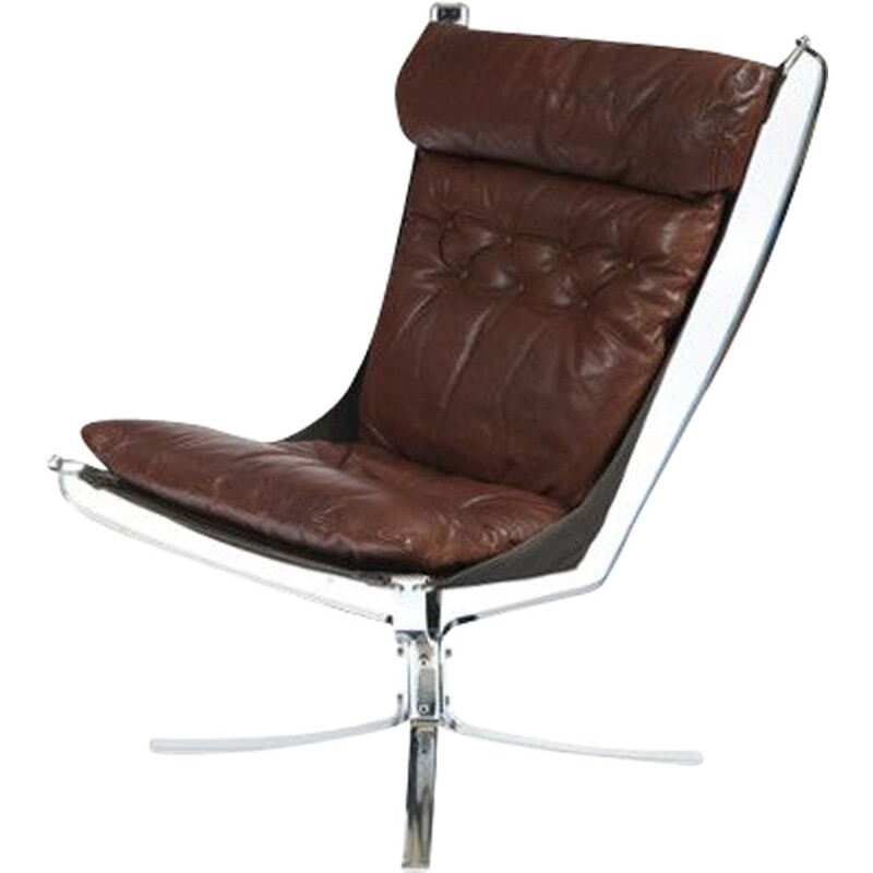 "Vintage ""Falcon"" armchair in chrome by Sigurd Ressell"