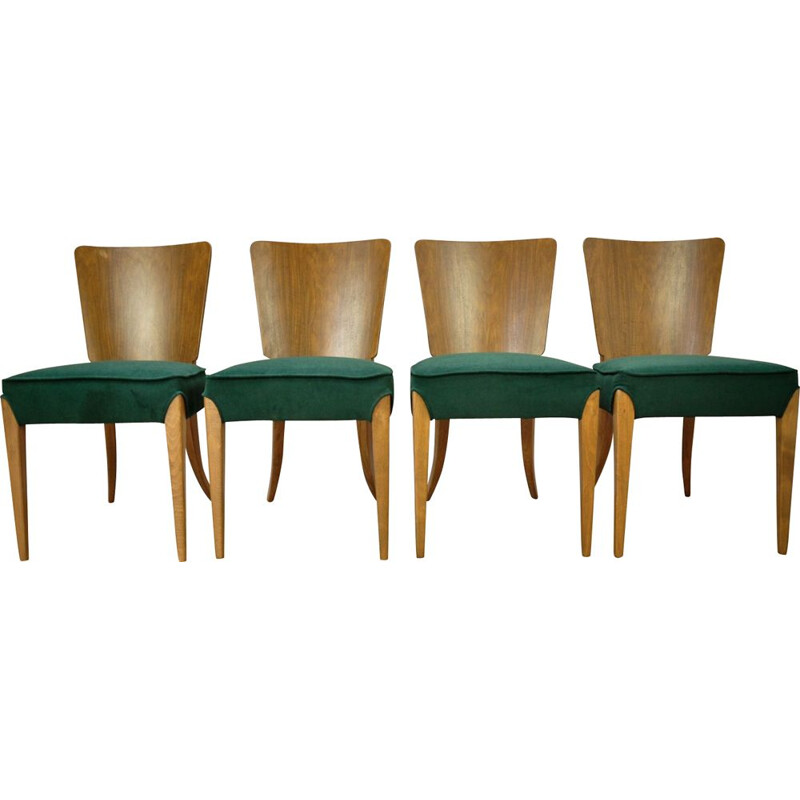 Set of 4 vintage green dining chairs by Jindřich Halabala for UP Zavody