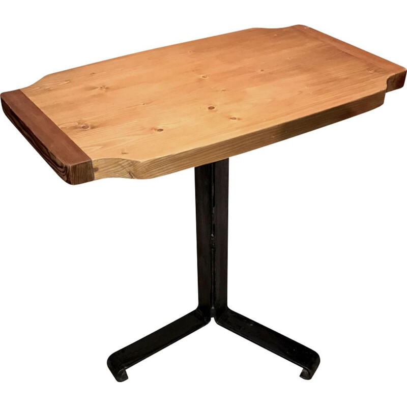 Vintage pedestal table in larch by Charlotte Perriand 1960s