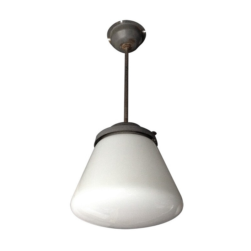 Industrial hanging lamp in metal and glass - 1950s