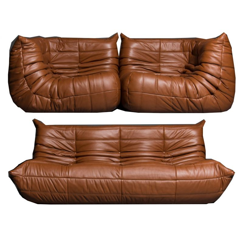 Set Of 3 Vintage Togo Sofa In Leather By Ligne Roset