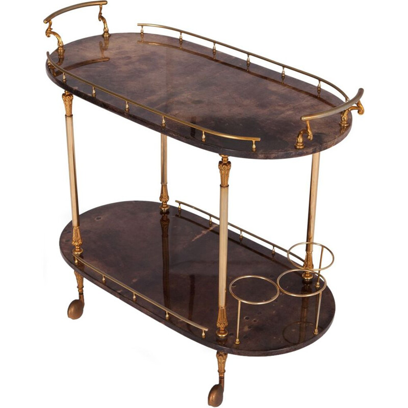 Vintage lacquered bar cart by Aldo Tura