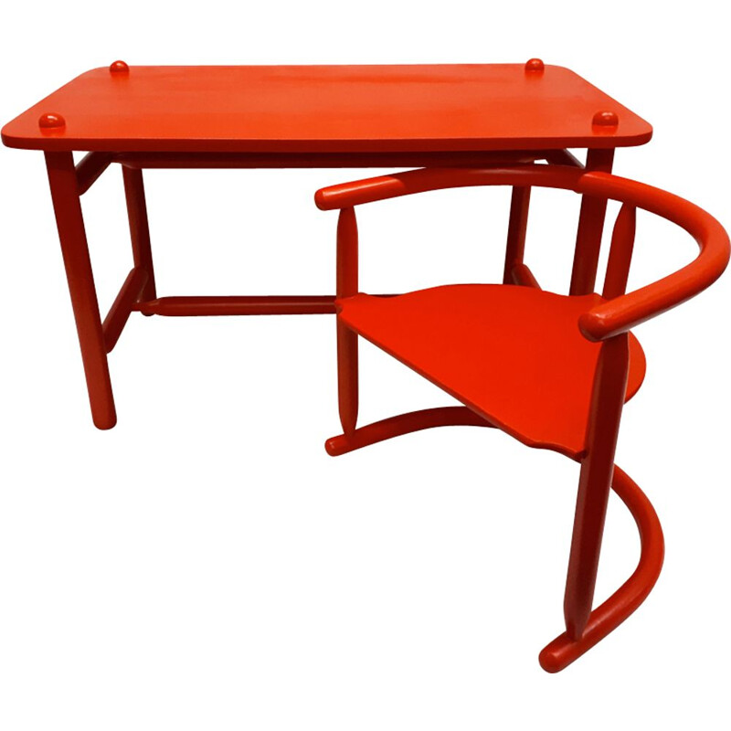 Set of vintage Scandinavian red table and chair by Karin Mobring