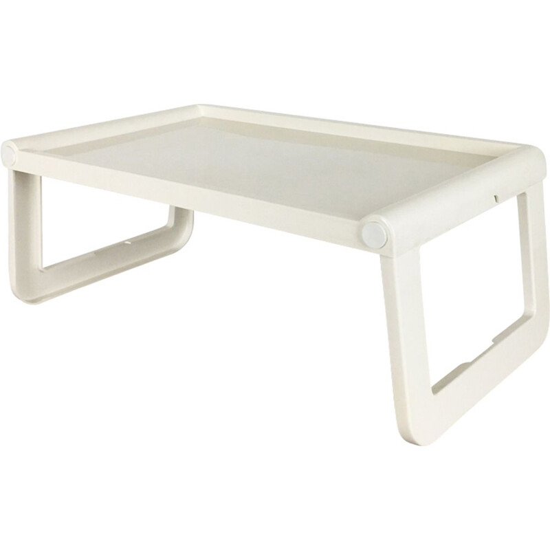Vintage white bed table in plastic by Luigi Massoni for Guzzini