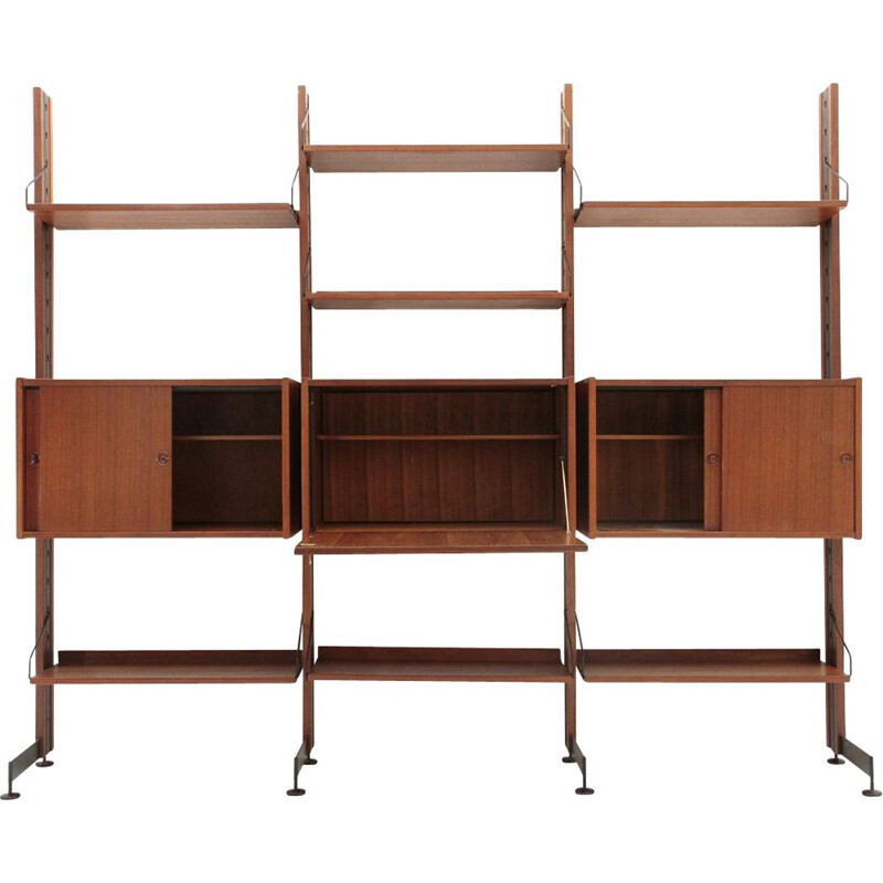 "Vintage ""Selex"" teak and metal wall unit by Industria Mobili Barovero"