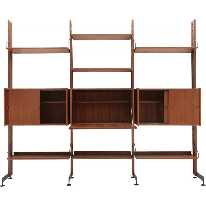 Vintage selex teak and metal wall unit by industria for Industria mobili