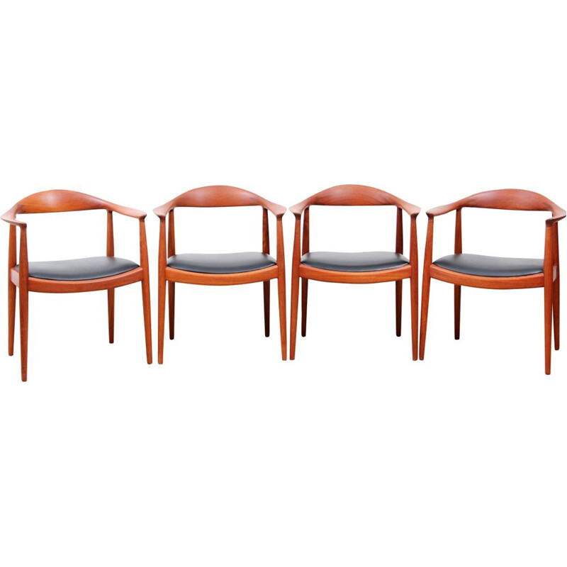 Vintage set of 4 chairs in teak, 1st edition, Hans Wegner