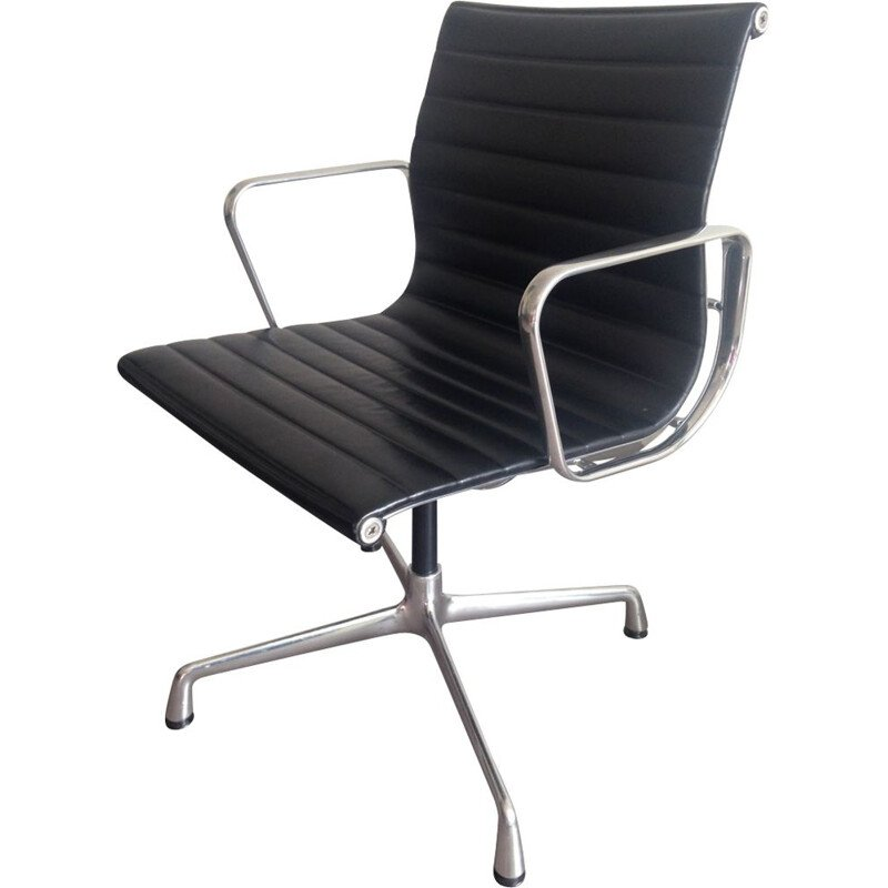Vintage black EA108 office chair in leather by Eames for Vitra