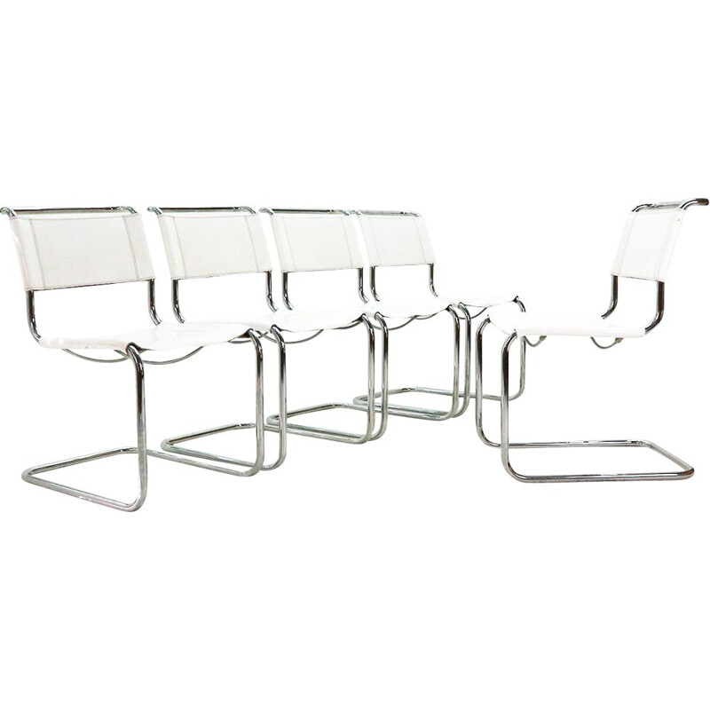 "Set of 5 ""S33"" white chairs by Mart Stam for Thonet"