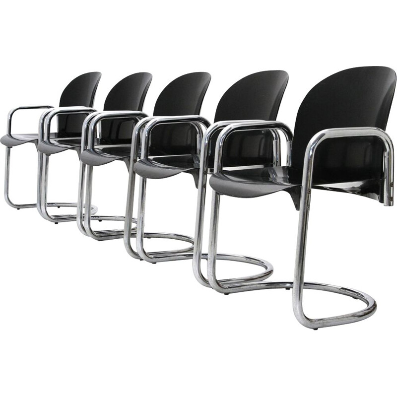 Set of 5 Dialogo chromed dining chairs by Tobia Scarpa for B&B Italia