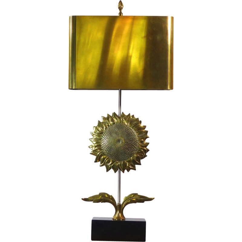 """Sunflower"" Table lamp in gilded bronze by Maison Charles"
