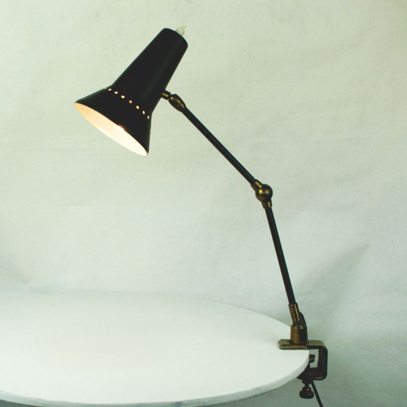 1970s Black and white desk light with adjustable perforated shade