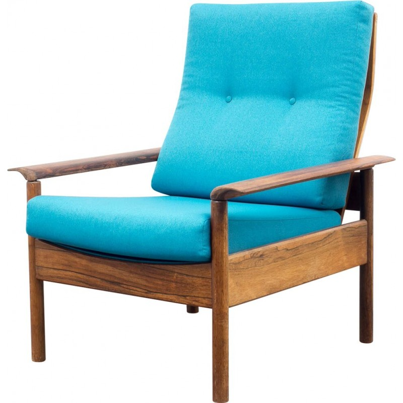 Scandinavian Armchair In Rosewood And Turquoise Fabric   1960s