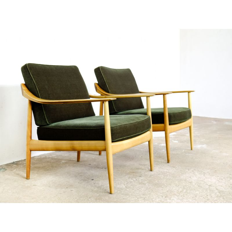 Walter Knoll Design Fauteuil.Pair Of Easy Chairs In Dark Green Velvet By Walter Knoll Design