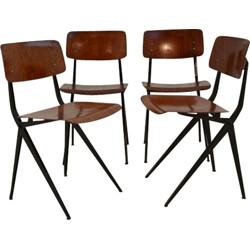 Set of 4 chairs in wood and metal, Friso KRAMER - 1950s