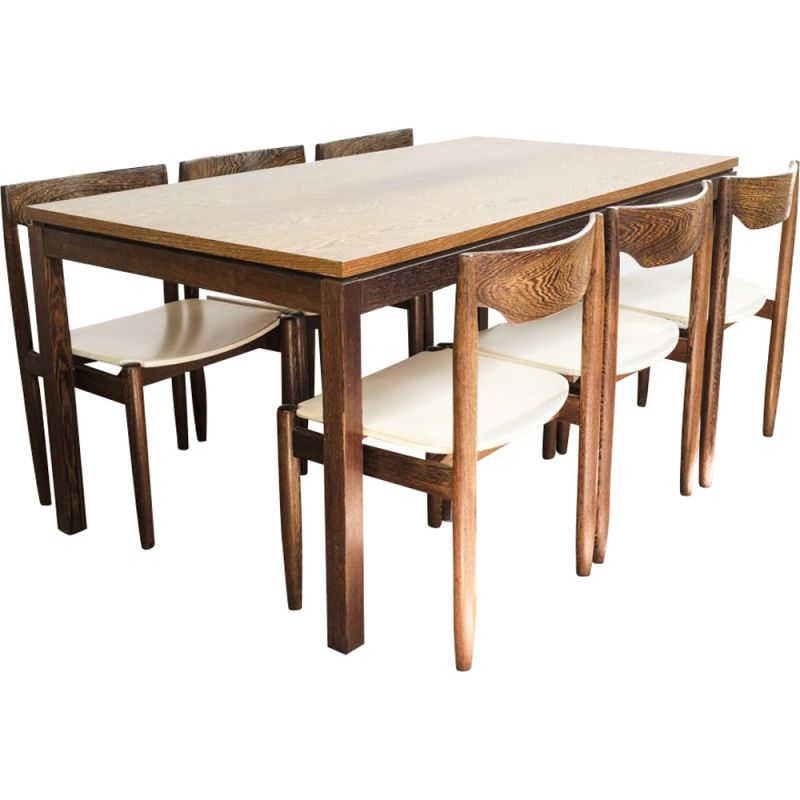Vintage Dining Set Of A Table And 6 Chairs In Wenge