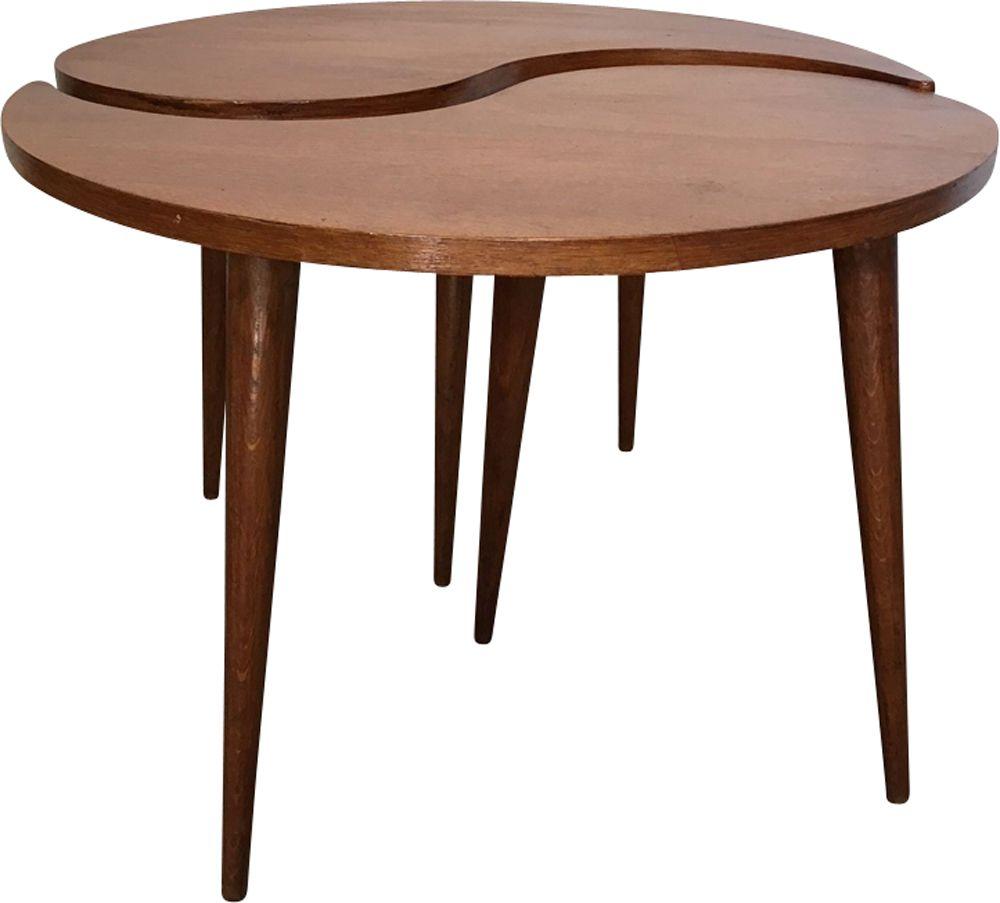 table basse vintage ying yang en teck design market. Black Bedroom Furniture Sets. Home Design Ideas