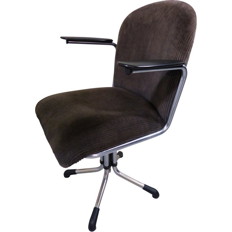 356 armchair in chromed metal, bakelite and brown fabric, edition Gispen - 1950s