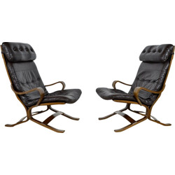 Pair of Siesta armchairs in brown leather and wood, Ingmar RELLING - 1960s